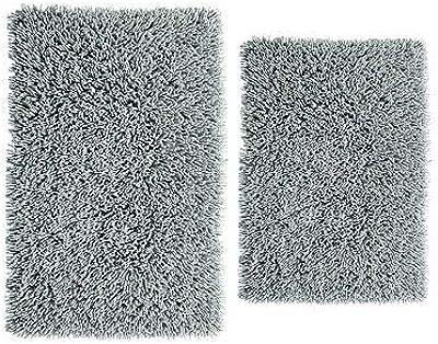 100/% Pure C... Cotton Craft Reversible Step Out Bath Mat Rug Set 24x60 Charcoal