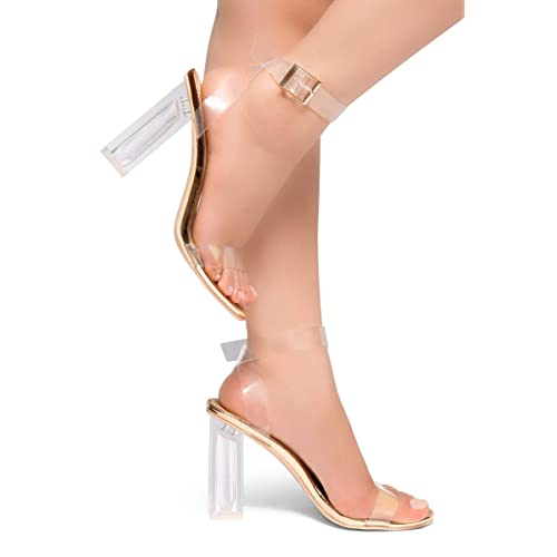 6cf4c115e76 Herstyle Women s Cllaary Perpex Heel Ankle Strap Adjustable Buckle Lucite  Clear Block Chunky High Heel Open
