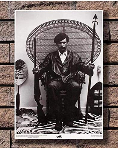 LDJING Póster De Lienzo Huey Newton Sentado En Una Silla De Mimbre Impresiones En Lienzo Cuadro Artístico De Pared Decoración Del Hogar K131L 40X60Cm Sin Marco