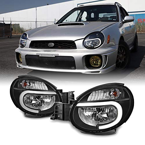 For 2002 2003 Subaru Impreza Outback/RS/TS/WRX (Halogen Type) LED DRL Black Headlights Lamps Pair