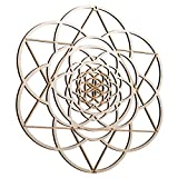 ZenVizion 13.5' Seed of Life Merkabah Wall Art, Sacred Geometry Home Decor, Meditation Symbol, Yoga Hanging Artwork, Laser Cut Wooden Wall Sculpture, Wealth, Prosperity, Abundance, Gift