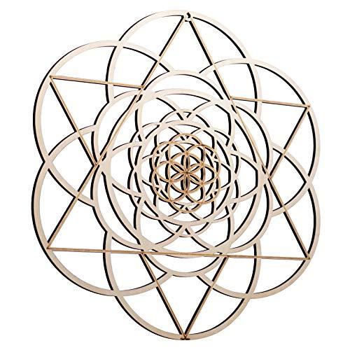 "ZenVizion 13.5"" Seed of Life Merkabah Wall Art, Sacred Geometry Home Decor, Meditation Symbol, Yoga Hanging Artwork, Laser Cut Wooden Wall Sculpture, Wealth, Prosperity, Abundance, Gift"