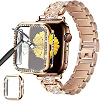 Mesime Compatible for Apple Watch Band with Screen Protector Case, Jewelry Replacement Metal Band 2 Pack Bling Full Cover...