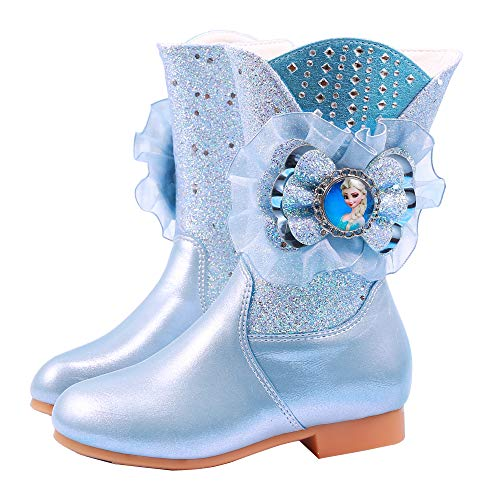 FStory&Winyee Mädchen Schneestiefel Kinder Prinzessin Schuhe ELSA Stiefel Winterstiefel Gefüttert Kurzschaftstiefel Lederstiefel Outdoor Boots Warm Fasching Eiskönigin Kostüm Frozen Winterschuhe
