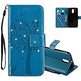 COTDINFOR Funda para Motorola Moto G4 Caso Flip Cierre Magnético Elegante Suave PU Cuero Cover Anti-arañazo Carcasas para Moto G4 Blue Wishing Tree with Diamond KT.
