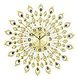HongLianRiven Reloj de Pared Crystal Big Fancy Art Wall Clocks Metal Wall Reloj Non Ticking Home Dormitorio Hotel Sala de Estar Reloj de Pared Grande Decoraciones para el hogar