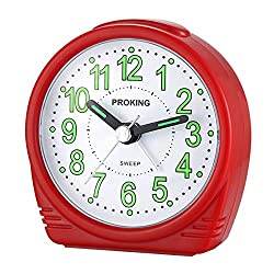 PINGHE Alarm Clock,Silent No-Ticking Bedside Analog Alarm Clock,Small Lightweight Travel Quartz Alarm Clock,with Snooze and Light,Easy to Set,Battery Operated,Best for Elder/Kids (Red 503)