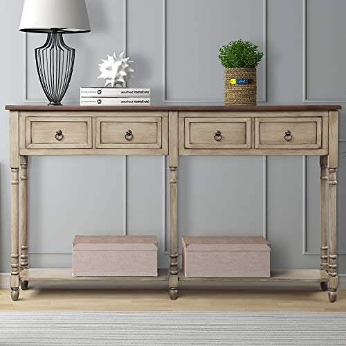 Console Tables for Entryway, Norcia 58' Wide Rustic Hallway Table, Sofa Tables Narrow Long with Storage for Living Room (Antique Grey)