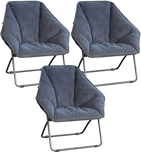 Zenithen Limited Hexagon Folding Chairs (Pack of 3, Grey)