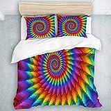 Juego de Funda nórdica, Espiral de arcoíris en Colores Vibrantes, arcoíris Circular de ilusión óptica, Juego de Cama de Aspecto Natural, 3 Piezas
