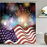 ikfashoni Unabhängigkeitstag Amerika Flagge Duschvorhang Vierter Juli Halo Duschvorhang mit 12 Haken Wasserdicht Feuerwerk Duschvorhang 69 x 70 Zoll 69x70Inches blau
