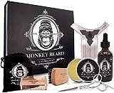 Monkeybeard - Juego de cuidado de la barba (9 piezas: bálsamo (60 g) y aceite para barba (60 ml), cepillo, tijeras, peine, plantilla, set de cuidado de la barba para hombres, incluye delantal y bolsa