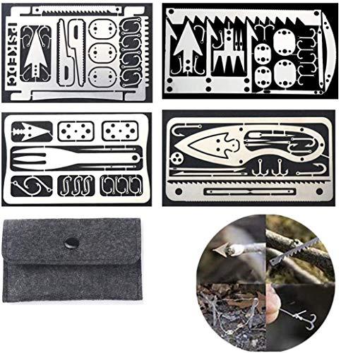 Xcvbnm Survival Multitool Card, 4 Stück 22 In 1 Survival Kit Camping Outdoor Notfallausrüstung Werkzeug Angelhaken Karte Langlebige Angelgeräte Tragbare Angel- und Jagdwerkzeugkarte (4pcs White)