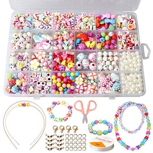 Nuosen 24 Arten DIY Armband bunte perlen set mit einer Aufbewahrungsbox, bunte DIY Perlenschmuck für Kinder zum Basteln