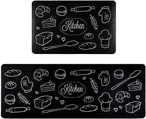 Homcomodar Küchenmatten Schwarz 2 STÜCKE Teppiche Waschbar Küchenmatten Läufer Set Küchenläufer Komfort Küchen Fußmatten (44x70+44x120cm)
