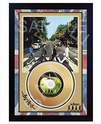 SGH SERVICES The Beatles Abbey Road Mini Gold Vinyl CD Schallplatte signiert gerahmt