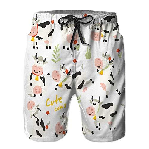 Hombres Verano Secado rápido Pantalones Cortos Playa Establecer Lindo Personaje de Vacas en Varias Posiciones Trajes de baño Correr Surf Deportes-XL