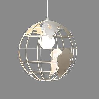 Globe Map Lampshade Lámpara colgante vintage Bola redonda Lámpara colgante Lámpara de techo E27 Luces de techo para el hogar Restaurante Dormitorio Oficina (Blanco, 20CM)