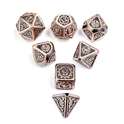 Shiny Copper DND Metal Dice with Gear Number 7pcs Set for Dungeons and Dragons RPG MTG Table Games D&D Pathfinder Shadowrun and Math Teaching