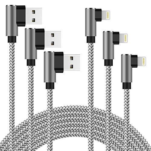 90 Degree iPhone Charger 10 ft Lightning Cable 3 Pack Right Angle iPhone Charging Cable Nylon Braided Syncing Cord for iPhone 12/11 /Xs Max/XR/X / 8 Plus / 7 Plus, iPad -Silver Gray