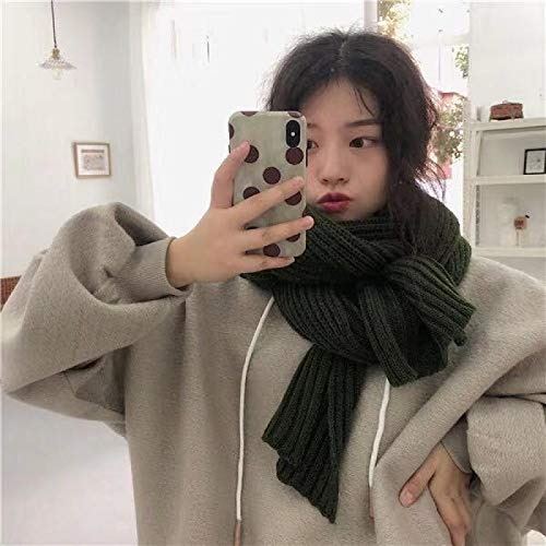 Scarf Solid Color Knitted Women Winter Scarf Cashmere Scarves Lady Winter Warm Shawls Wraps Winter Femal Hijab Green