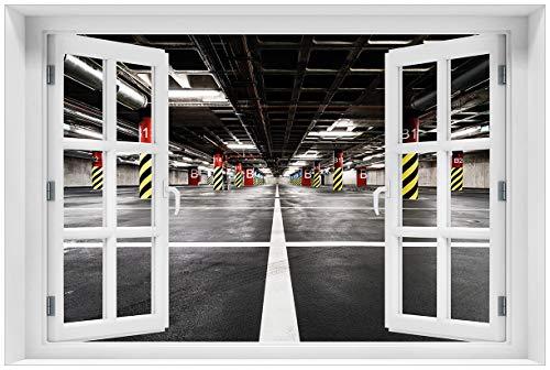 Wallario Acrylglasbild mit Fenster-Illusion: Motiv Perspektive von unten leeres Parkhaus im Untergrund - 60 x 90 cm mit Fensterrahmen in Premium-Qualität: Brillante Farben, freischwebende Optik