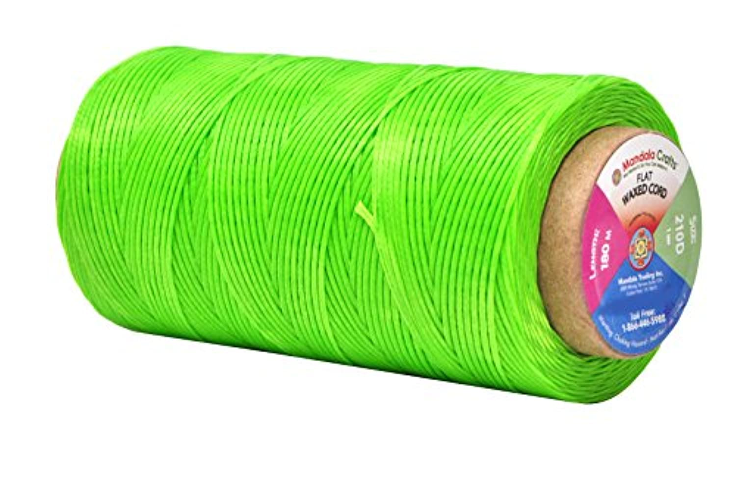 Mandala Crafts 150D 210D 0.8mm 1mm Leather Sewing Stitching Flat Waxed Thread String Cord (210D 1mm 180M, Lime Green)
