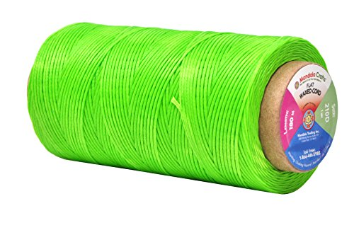 Flat Waxed Thread for Leather Sewing - Leather Thread Wax String Polyester Cord for Leather Craft Stitching Bookbinding by Mandala Crafts 210D 1mm 197 Yards Lime Green