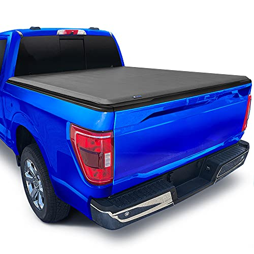 """Tyger Auto T1 Soft Roll Up Truck Bed Tonneau Cover Compatible with 2015-2022 Ford F-150   Styleside 5.5' Bed (66"""")   TG-BC1F9029 , Black"""