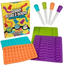 Gummy Bear & Worm Silicone Candy Molds, 4 Pack Set - Nonstick Trays with 2 Droppers for Chocolate, Ice Cubes and More - FDA-Approved, BPA-Free - Makes up to 62 Candies