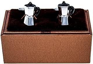 MRCUFF Coffee Pot Italian Expresso Maker Pair Cufflinks in a Presentation Gift Box & Polishing Cloth