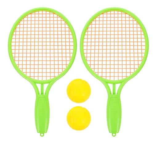 Toyvian Badminton conjunto para crianças com 2 raquetes e 2 bolas júnior raquete de tênis jogar praia brinquedos verde