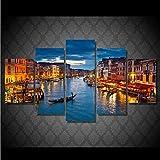 sxkdyax Sin Marco Modern Wall Art Poster HD Imprime Fotos Decoración para el hogar 5 Unidades Venecia Agua Ciudad Barco Luz Paisaje Lienzo Pintura