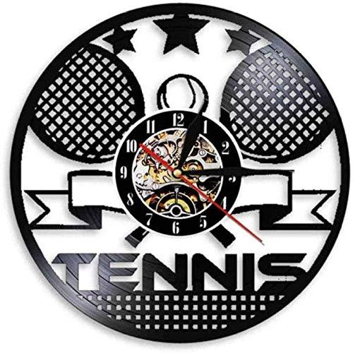 Reloj De Pared De Vinilo Reloj De Tiempo De Tenis De Vinilo Raqueta De Tenis Colgante De Pared Cruzado Reloj De Pared De Arte Decoración De Pared De Sala De Deportes Reloj De Pared De Vinilo Vintage