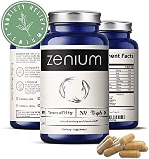 Natural Anti-Anxiety & Stress Relief Supplement by Zenium® | 5HTP, L-Theanine, Ashwagandha Extract, Magnesium, Valerian | ...