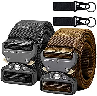 2PCS Tactical Belt,Military Style Webbing Riggers Web Gun Belt with Heavy-Duty Quick-Release Metal Buckle With 2 Keychains