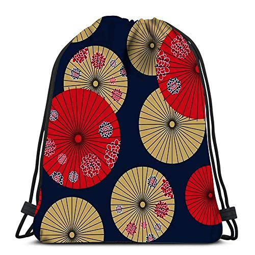Lmtt Bolsos con cordón Mochila Paraguas japonés Viajes Bolsos de Gimnasia Mochila Hombro