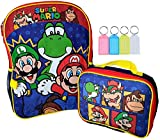 Super Mario Brothers School 16' Backpack Bookbag with Insulated Lunch Box Set + Name Tag