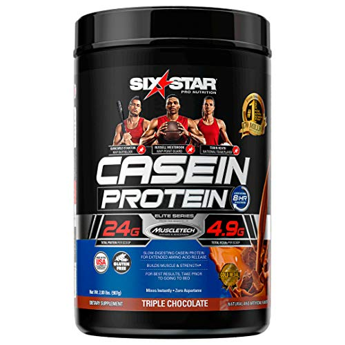 Casein Protein Powder | Six Star Elite Casein Protein Powder | Slow-Digesting Micellar Casein Protein Powder for Women & Men | Triple Chocolate Protein Powder, 2 lbs (26 Servings)(package may vary)