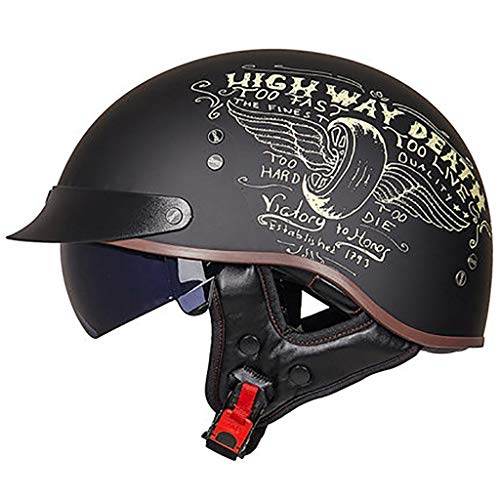 GAOZH Adultos Retro Casco Moto,Vintage Classic Abierto Cascos Half-Helmet,con Visera,ECE Homologado,Profesional Moto Jet Cascos,para Mujer y Hombre Street Bike Cruiser Chopper Moped Scooter