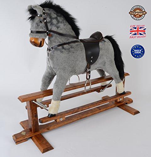 MJmark Handmade Rocking Horse MARS DAPPLE GREY Cheval à bascule