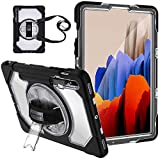 SUPFIVES Case for Samsung Galaxy Tab S7 2020, [ Clear Hard Back ] Three-Layer Protection Case with S Pen Holder [Rotating Stand] [Handle& Shoulder Strap] Silicone Cover for Tablet S7 11 inch T870/T875