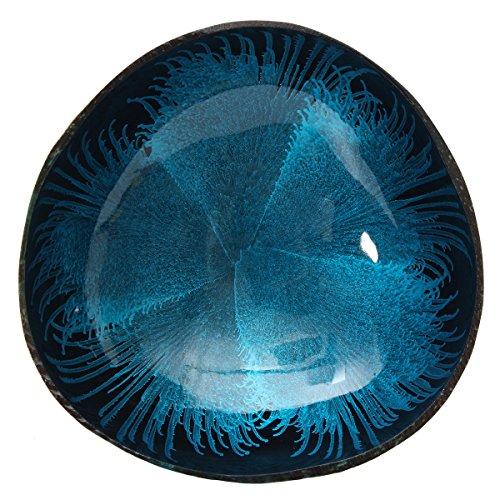 Bol en coquille de noix de coco naturelle avec motif de jet d'encre pour rangement de petits objets bleu