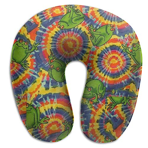 Hdadwy Frogs Peace Sign Psychedelic Tie Dye Travel Pillow Set Best Sleep Accessories for Long Airplane Flights and Car Trips