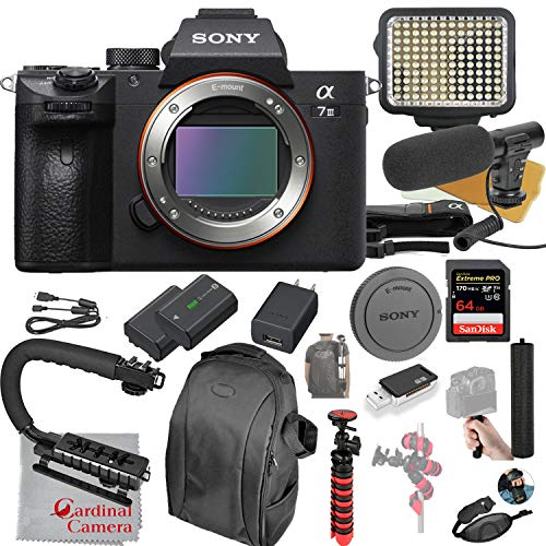 Sony Alpha a7 III Mirrorless Digital SLR Camera Body Only Video Bundle + LED Video Light + Microphone + Extreme Speed 64GB Memory(20pc Bundle)