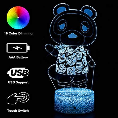 CEREALY 3D-Illusion Tom Nook Nachtlicht, Anime Tischlampe mit Fernbedienung, Kinderzimmer-Dekoration, Heimdekoration, kreative Beleuchtung