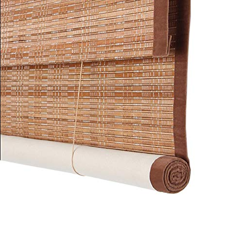 Jcnfa-Roller Shades Bamboo Roller Blinds, with 100% UV Protection, Valance, Privacy Window Blinds Blackout Lining, 85cm/ 105cm/ 125cm/ 145cm Wide (Color : Tamaki Color, Size : W 145H 240cm)
