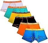Jinshi Mens Bamboo Underwear Boxer Briefs Short Leg Tagless Pouch Trunk 3XL(39'-42')/US XL