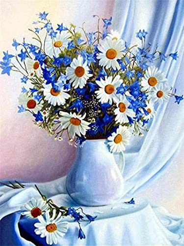 QGHMV DIY 5D Diamond Painting by Number Kits Beautiful Daisies in A Vase Round Full Drill Embroidery Arts Craft Canvas Supply for Home Wall Decor(16X20inch)
