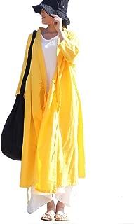 Women's Cotton Linen Long Loose Wrap Kimono Cardigans Coat Short Sleeve Dress
